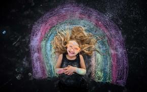Картинка улыбка, радуга, девочка