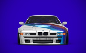 Картинка Авто, Синий, Машина, Фон, Передок, Transport & Vehicles, Javier Oquendo, by Javier Oquendo, BMW 850 …