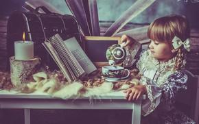 Картинка настроение, свеча, платье, чаепитие, девочка, книга, косички, сундучок
