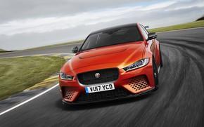 Картинка небо, оранжевый, Jaguar, спереди, 2017, XE SV Project 8