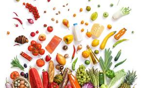 Картинка лимон, яблоки, грибы, яйца, рыба, арбуз, сыр, молоко, виноград, перец, фрукты, ананас, овощи, помидоры, продукты