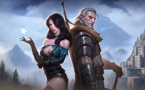 Картинка Воин, Fantasy, Art, The Witcher, Фантастика, Геральт, Illustration, Witcher, Геральт из Ривии, Персонаж, Characters, Geralt, ...