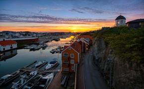 Картинка лодки, вечер, Норвегия, Haugesund