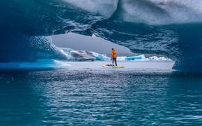 Картинка вода, мужик, льды, Alaska, Paddling Tranquility