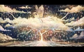 Картинка звезды, облака, дерево, фея, полумесяц