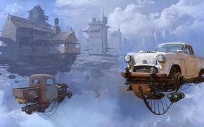 Картинка Небо, Авто, Рисунок, Машина, Мир, World, Fantasy, Sky, Автомобиль, Арт, Art, Auto, Фантастика, Machine, Дизель, …