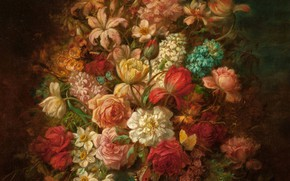 Картинка цветы, лилии, розы, букет, тюльпаны, нарциссы