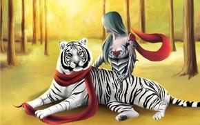 Картинка лес, девушка, тигр