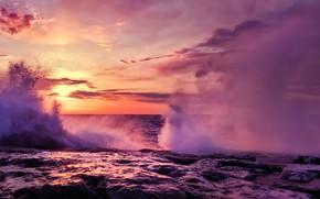Картинка twilight, sky, sea, landscape, nature, sunset, clouds, sun, splashes, Waves