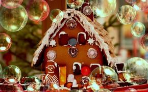 Картинка зима, снег, дом, пузыри, праздник, окна, печенье, мыльные пузыри, Рождество, Новый год, домик, крем, десерт, …