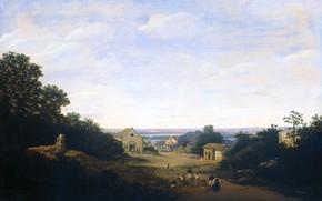 Картинка масло, картина, Франс Пост, Бразильский Пейзаж с Деревней Игарасу, 1659, Frans Post
