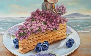 Картинка море, девушка, цветы, черника, тарелка, торт, мужчина, влюбленные