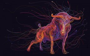 Картинка colorful, animals, art, painting, abstraction, rendering, digital art, bull, drawing, wires, cables, computer cables