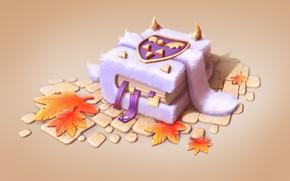 Картинка осень, фэнтези, арт, книга, листочки, пушистик, рожки, детская, Daria Nigretskaya, Undertale Fan Art 02