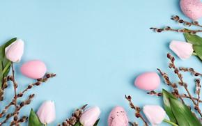Картинка цветы, ветки, фон, праздник, яйца, пасха, верба