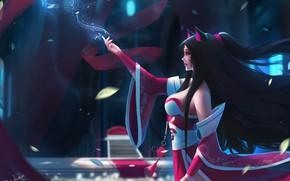 Картинка girl, fantasy, game, long hair, animal ears, breast, blue eyes, brunette, League of Legends, digital …