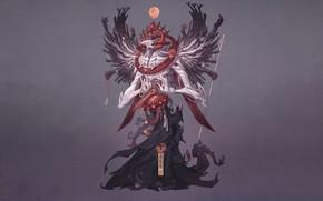Картинка Япония, Монстр, Стиль, Крылья, Japan, Spirit, Ghost, Monster, Арт, Art, Style, Warrior, Фантастика, Призрак, Fiction, …