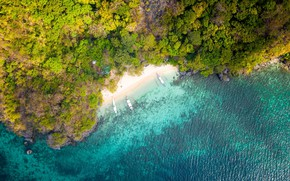 Картинка beach, boats, tropical, aerial view, shoreline