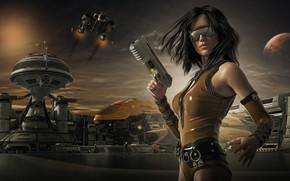 Обои пистолет, девушка, взгляд