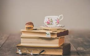 Картинка ретро, чай, книги, macaron