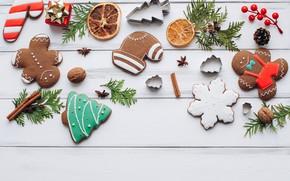 Картинка украшения, Новый Год, печенье, Рождество, Christmas, wood, New Year, cookies, decoration, пряники, gingerbread, Merry