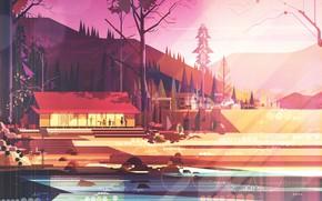 Картинка Минимализм, Горы, Деревья, Лес, Дом, Стиль, Здание, Архитектура, Арт, Art, Water, Style, Vintage, Digital, Illustration, …