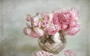 Картинка цветы, фон, букет, лепестки, арт, ваза, розовые, живопись, бутоны, пионы, блестящая