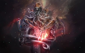 Картинка звёзды, существо, чудовище, cthulhu, The Dreamer
