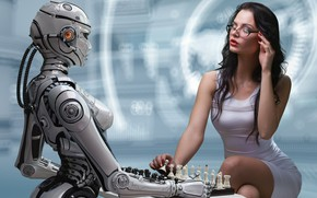 Картинка sexy, киборг, cyborg, сексуальная брюнетка, обтягивающее платье, великолепная фигура, очаровательная девушка, робототехника, игра в шахматы, …