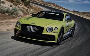 Картинка дорога, асфальт, купе, скорость, Bentley, Continental GT, Pikes Peak, 2019, 626 л.с.