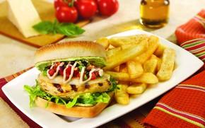 Картинка еда, картофель фри, бургер