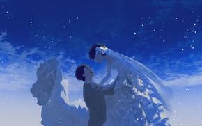 Картинка небо, любовь, счастье, арт, пара, свадьба