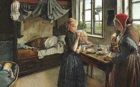 Картинка датский живописец, 1882, Laurits Andersen Ring, Лауриц Андерсен Ринг, Danish painter, Morning coffee, Интерьер от ...