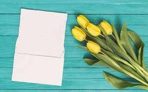 Картинка письмо, цветы, букет, желтые, тюльпаны, yellow, flowers, tulips, spring