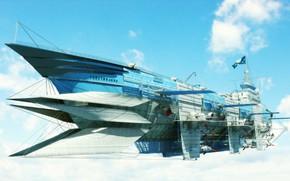 Картинка fantasy, sky, aircraft, science fiction, sci-fi, flag, digital art, artwork, fantasy art, futuristic, Airship