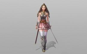 Картинка Girl, Fantasy, Art, Illustration, Knight, Minimalism, Sword, Dress, Armor, Character, NamGyeong Lee