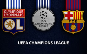 Картинка wallpaper, sport, logo, football, Barcelona, UEFA Champions League, Olympique Lyonnais, Olympique Lyonnais vs Barcelona