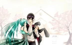 Картинка девушка, аниме, арт, пара, парень, Hatsune Miku, Vocaloid, вокалоид