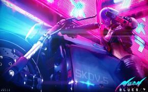 Картинка Девушка, Стиль, Girl, Шлем, Байк, Мотоцикл, Fantasy, Арт, Art, Style, Neon, Concept Art, Экипировка, Байкер, …
