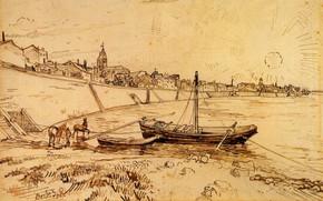 Картинка Drawings, Винсент ван Гог, Bank of the Rhone at Arles