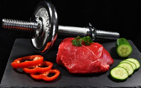 Картинка meat, vegetables, dumbbell, healthy life