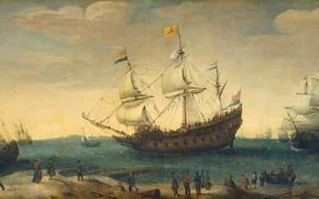 Картинка масло, картина, холст, 1630, Hendrik Cornelisz Vroom, Хендрик Корнелис Врум, в центре корабль 'Маврикий', Ост-Индские …