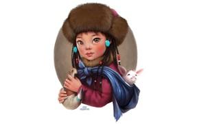 Картинка Девушка, Мультяшка, Монголия, Лера Кирьякова