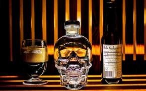 Картинка череп, бутылки, натюрморт, бренды