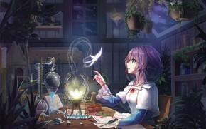 Обои Девушка, Бабочка, Цветок, Стол, Магия