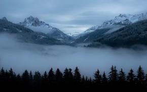 Картинка зима, небо, облака, снег, деревья, горы, природа, туман, скалы, Италия, Südtirol, Prags, Pragser Tal