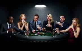 Обои актёры, сериал, Фильмы, Suits, Форс-мажоры, играют в карты
