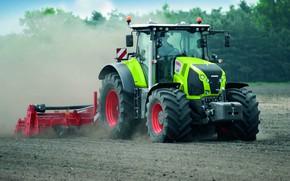 Картинка земля, пыль, трактор, Claas, Axion 800