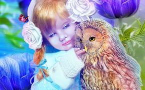 Картинка сова, девочка, ребёнок