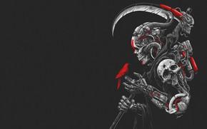 Обои Минимализм, Череп, Робот, Птица, Коса, Art, Киборг, Cyberpunk, Sony Wicaksana, by Sony Wicaksana, DEATH MACHINE